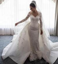 2018 Luxo Vestido de Noiva Sereia Sheer Long Neck Mangas Lace Applique Bow Overskirts Capela Trem Vestido de Noiva Vestido de noiva(China)