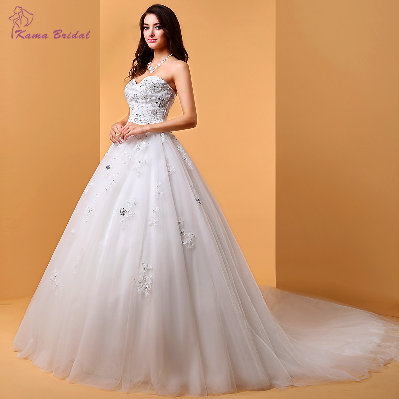 Elegant Women Big Day Wedding Gown with Cathedral Train Luxury Beading Sweetheart Lace Wedding Dresses White Bridal Gown(China (Mainland))