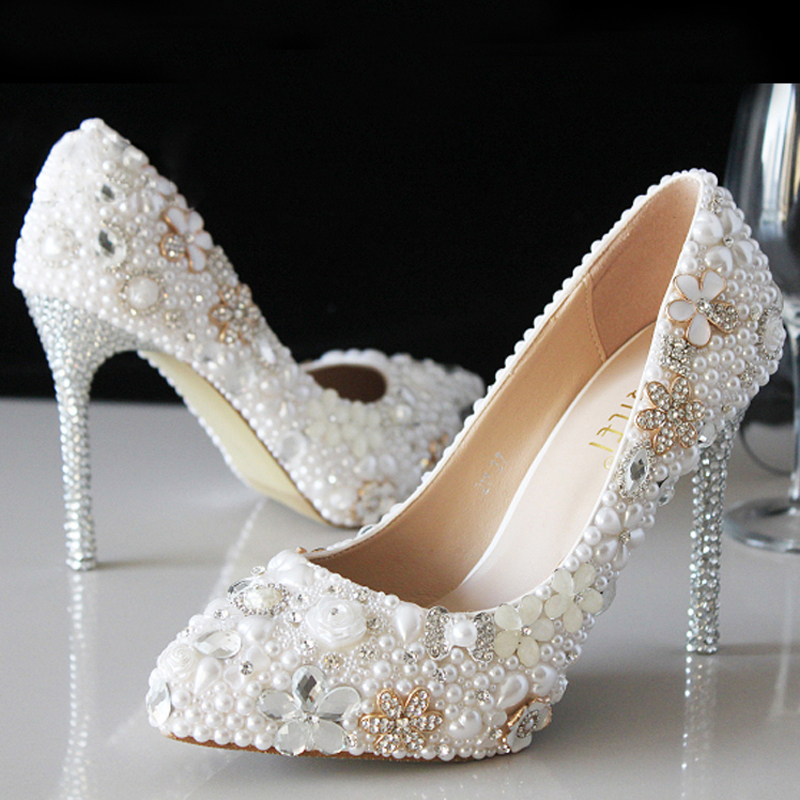 luxury attractive pointed toe pearl bridal wedding dress With comfortable wedding dress shoes