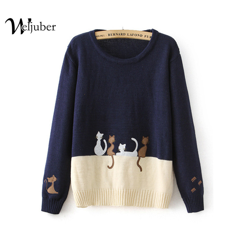 Autumn Winter Women Knitted Sweater Cartoon Cat Embroidery Girl Cotton Spell Color Pullover Long Sleeve O-neck Knitting Sweaters(China (Mainland))