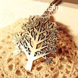 2015 new jewelry, antique bronze bird tree letter necklace  Free shipping(China (Mainland))