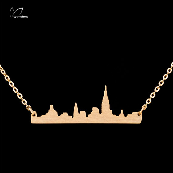 30pcs/lot-2015 Gold/Silver  Minimalist Jewelry PVD Stainless Steel  New York City Pendant Necklace for Women<br><br>Aliexpress