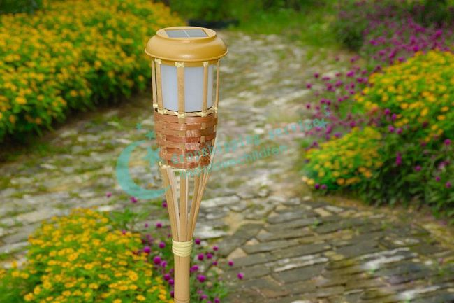 Solar Outdoor 2LED Bamboo Torches Courtyard Garden Energy Saving Light Decorative Lights Drop Shipping/2016 New(China (Mainland))