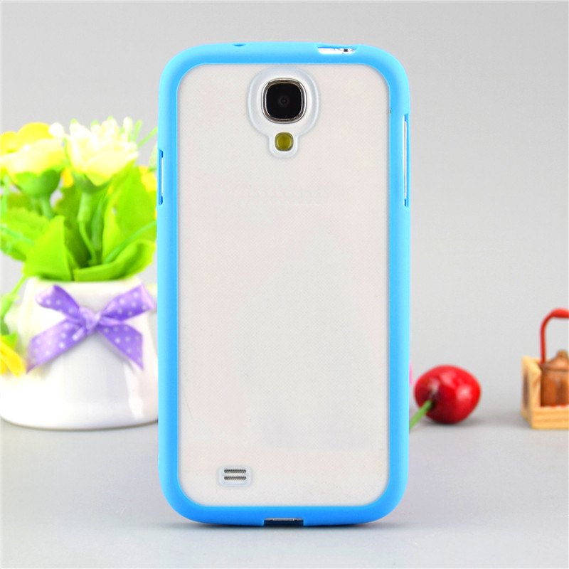 i9500 Transparent Back Case Cover Back with Candy Colorful Soft Silicone Edge Cover Case For Samsung Galaxy S4 Free Shiipping(China (Mainland))
