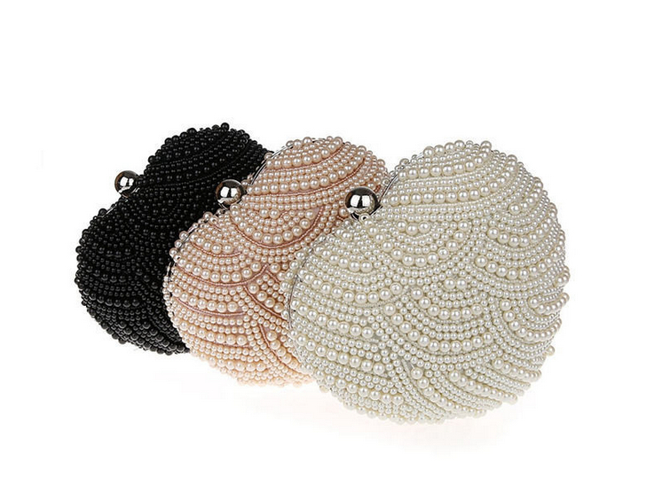 2 Sides Synthetic Pearls Women Shoulder Bags Two Chains Pearl Evening Bag White Clutch Wedding Party Beaded Purse Handbags - Formen Garment Group store