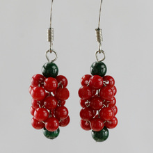 Natural malachite red coral earrings pure silver ear hook national trend personality fashion earring drop earrings(China (Mainland))
