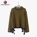 Sinofashion Loose Knitted Sweater 2016 women fall fashion cute bow Mohair coat semi Turtleneck Sweater