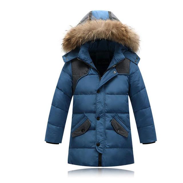 2016 дети утка вниз верхняя одежда Мальчики зимняя куртка дети пальто с меховым капюшоном длинные теплые толстые зимние пальто