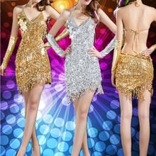 Latin Salsa Kleider Gold und Silber Pailletten Kleid für tanzen freies Verschiffen Latin Dance Kleid Frauen(China (Mainland))