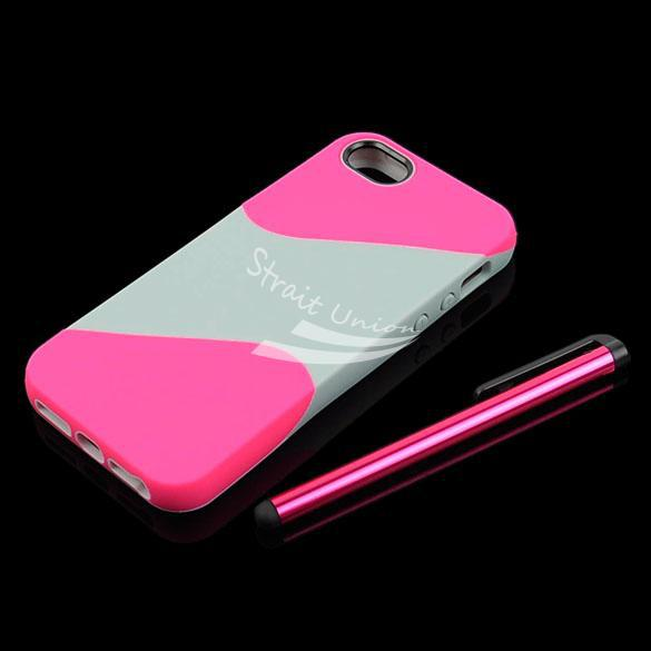 Pink Gray Cell Phone Case Cover Skin Bag Accessory iPhone 5 +Screen Protector&Stylus - Zoe store