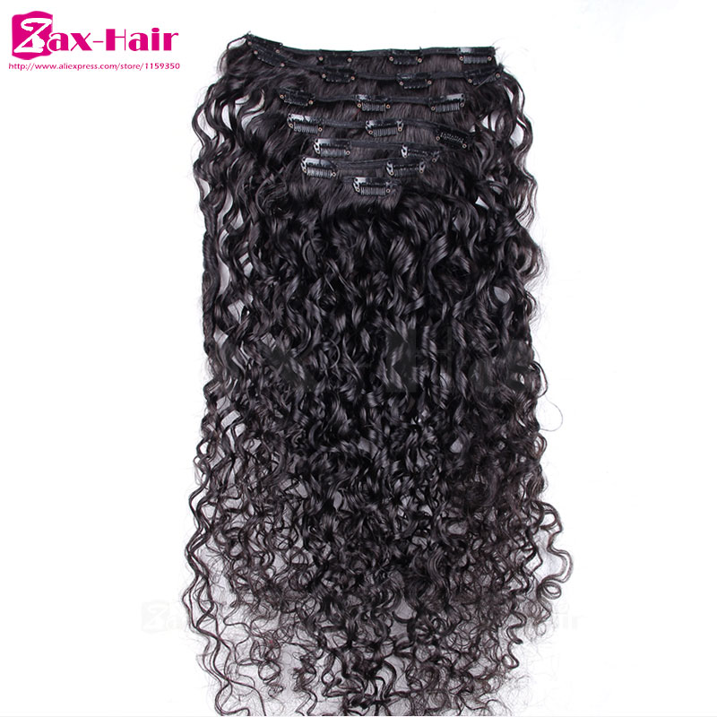 Clip In Human Hair Extensions Kinky Curly Clip In Hair Extensions 7-10pcs SALE 7A Brazilian Virgin Hair African American Clip In
