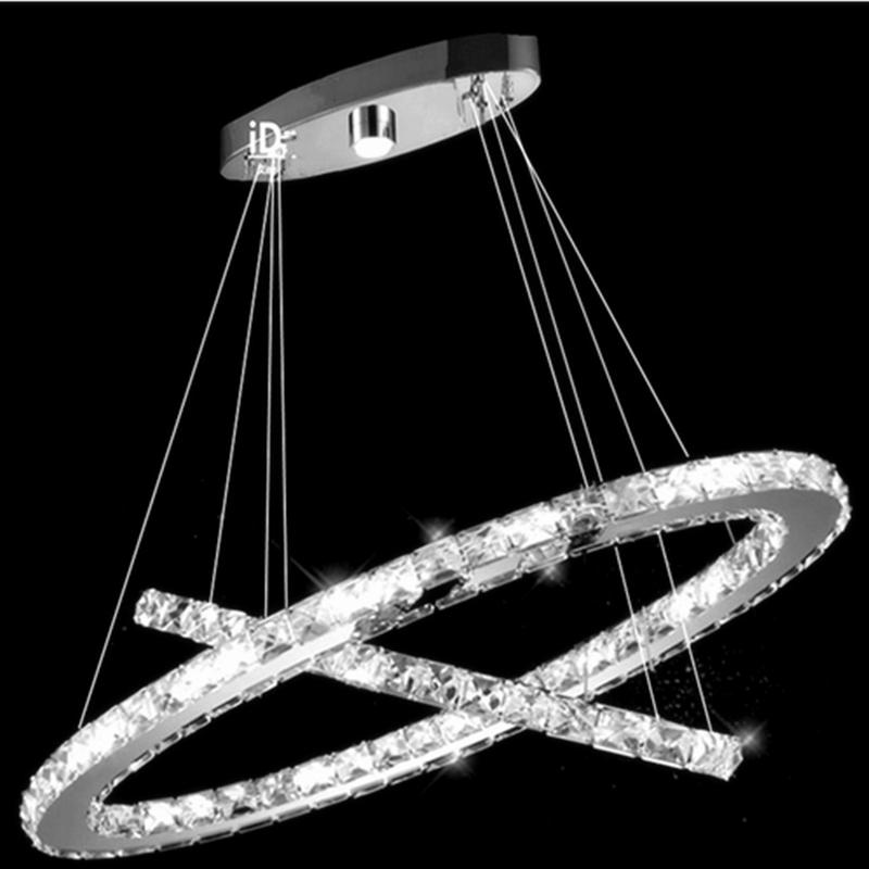 Modern Crtstal NEW Hot sale Chandeliers Diamond Restaurant lights 2 Ring oval LED K9 Crystal LED(China (Mainland))