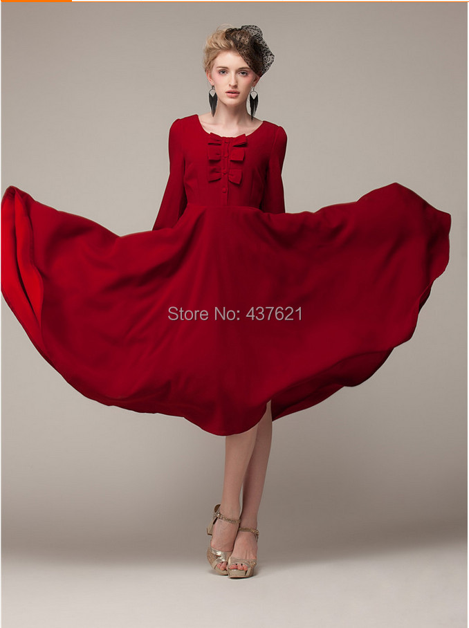 2015 women new party dress Red Casual long spring/Autumn chiffon sleeve dresses - Happy Time Store 437621 store