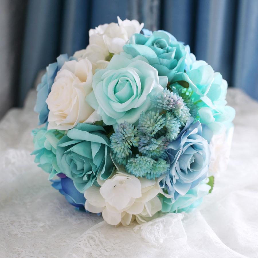 Fabric Flowers Bridal Bridesmaids Bouquet High Simulation Light Blue