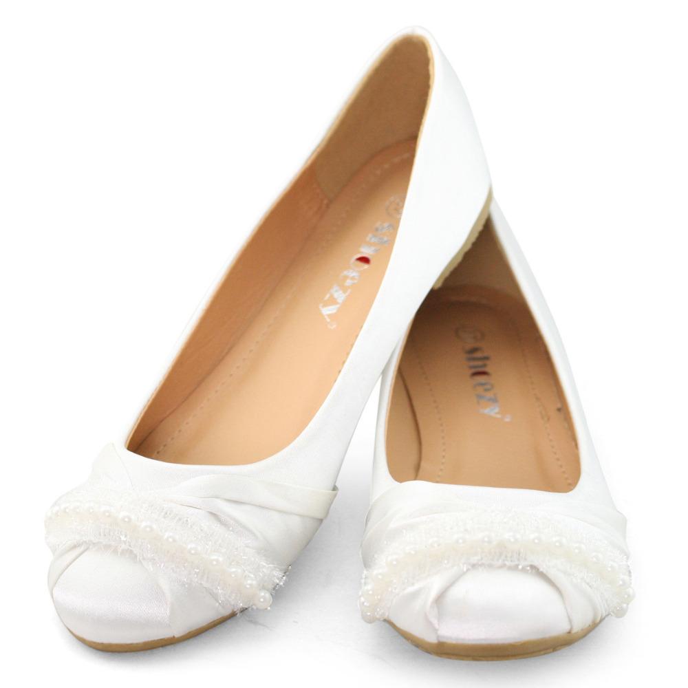 SHOEZY brand flat shoes women flats white ballet satin round toe wedding bridal bridesmaid shoes woman ladies new(China (Mainland))