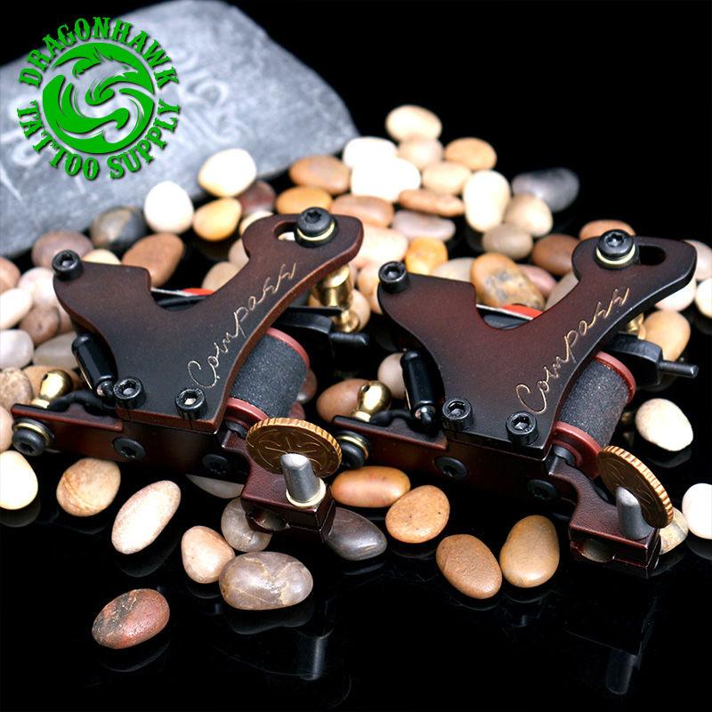 2pcs Professional Tattoo Guns Compass Tattoo Machine Liner And Shader Steel Frame Copper Coils Tattoo Gun