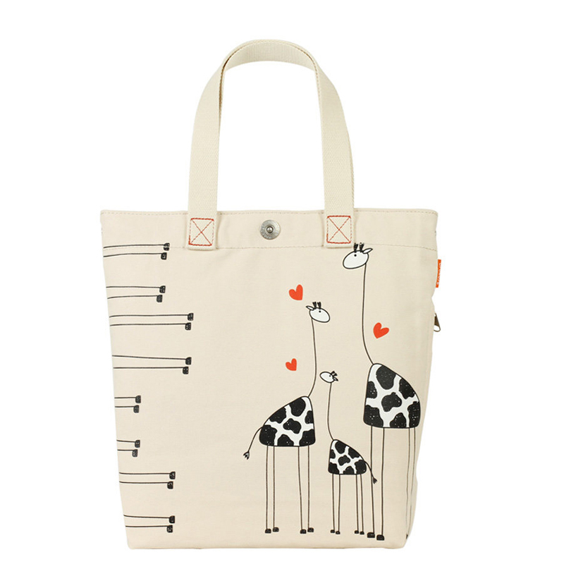 Daily Leisure Lady Shoulder Bag Cartoon Printing Delicate Tote Bag Women's Casual Hand Bag Simple Canvas Beige Shopping Bag(China (Mainland))