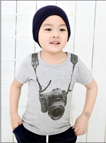 Корейские дети мальчики дети хлопка мультфильм камеры печать с коротким рукавом