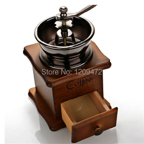 Гаджет  classical manual  coffee grinder    coffee into powder machine    wooden coffee mill machine None Бытовая техника