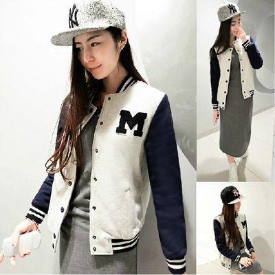 2014 Autumn Fashion Cotton Letter Printed Coat Women Baseboll Sport Suit Jacket Femininos Jackets Outwear - Three girl store