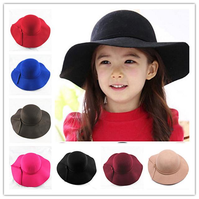 2016 новый урожай ретро детей детского мальчик девочка шляпы шляпу полиэстер чувствовал измельчаемые широкими полями колокол флоппи-бей солнце пляж крышка