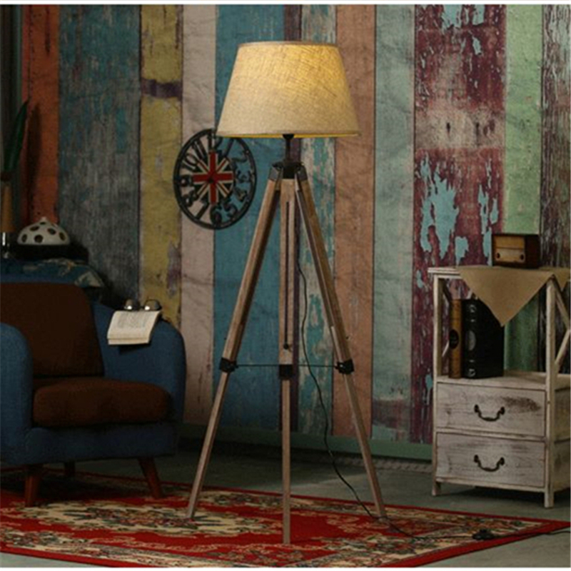 Buy Rustic Wooden Tripod Floor Lamp Fabric Lampshades Classi