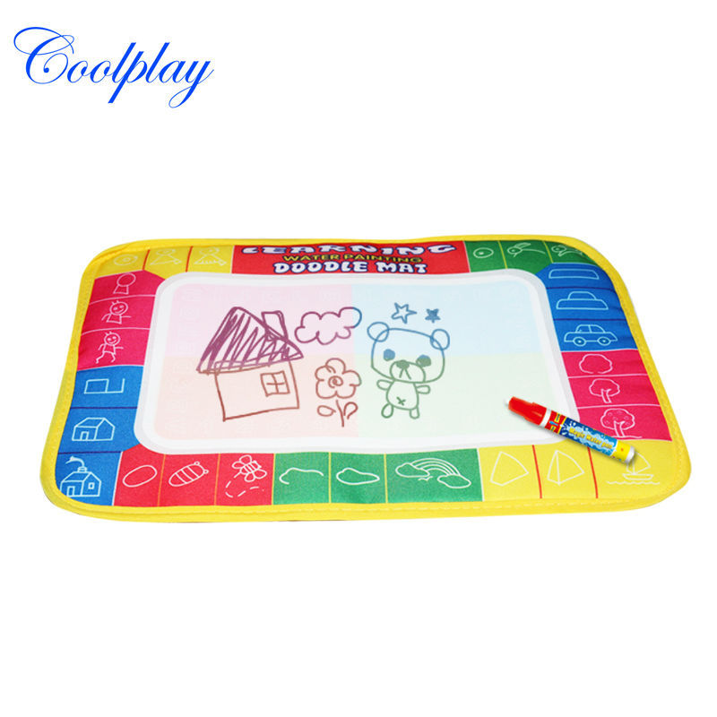 Free shipping 29X19cm CP1366 4 color Water Drawing Toys Mat Aquadoodle Mat&1 Magic Pen/Water Drawing board/baby play mat(China (Mainland))