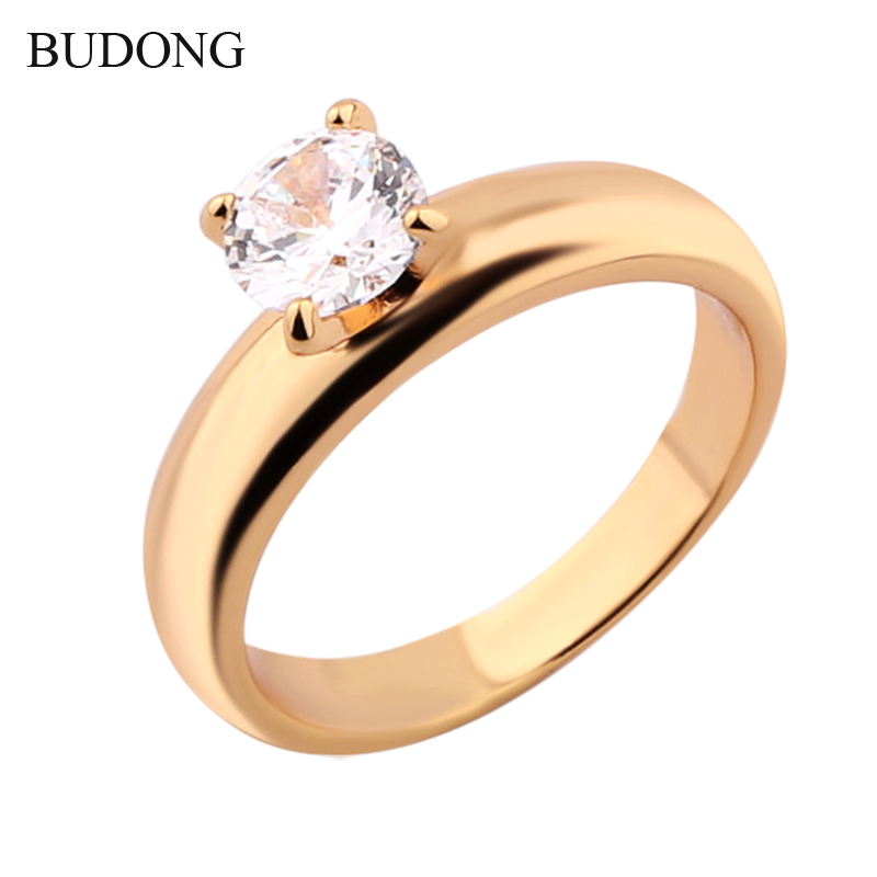 18K Gold Plated Ring White Crystal Cubic Zirconia Ring Wedding Band