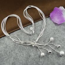 VALEN BELA Big promotion Tai Chi five Beads Silver Plated Necklaces Pendants Chain Bijuterias 2016 Fashion Women XL1043(China (Mainland))