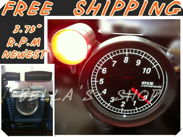 "free shipping brand new piv0t 3.75"" WHITE LED rpm /tachometer  racing stepping  gauge  with shift light original box"