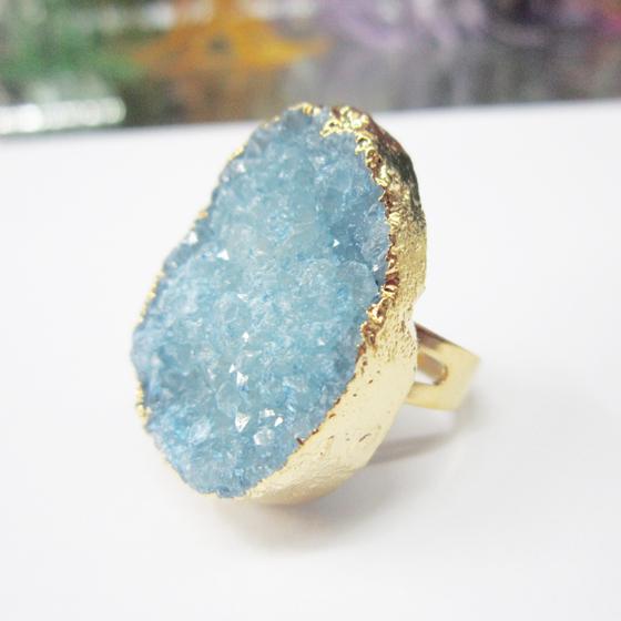 Sky Blue Freeform Geode Stone Adjustable 14K Gold Plated Druzy Rings Women - ODY International Jewelry CO., LTD store