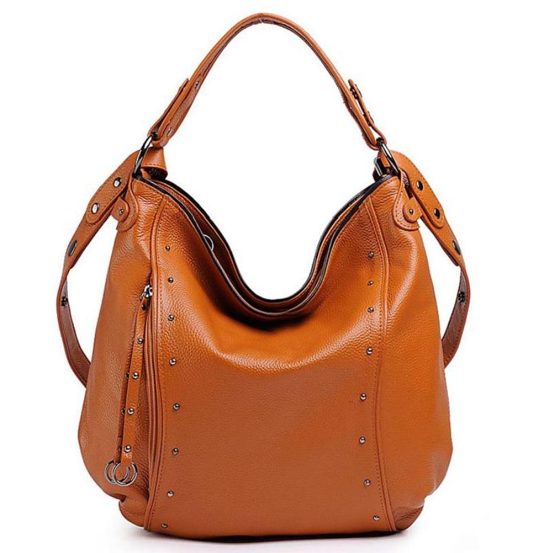 Free Shipping Soft Natural Leather women handbags Rivet Tote Casual Handbag European style Shoulder BAGS  Portable Free Shipping<br><br>Aliexpress