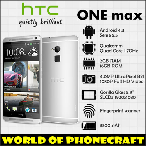 "HTC ONE MAX Quad Core 1.7GHZ 2G RAM 16G ROM 5.9"" Big Screen 1920*1080 1080P Fingerprint ID FDD 4G LTE Android mobile phones(China (Mainland))"