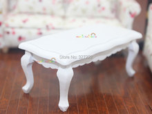 1 12 scale Dollhouse Miniature Furniture Coffee Tea Side Table White Wood for Living Room Wooden Toys(China (Mainland))