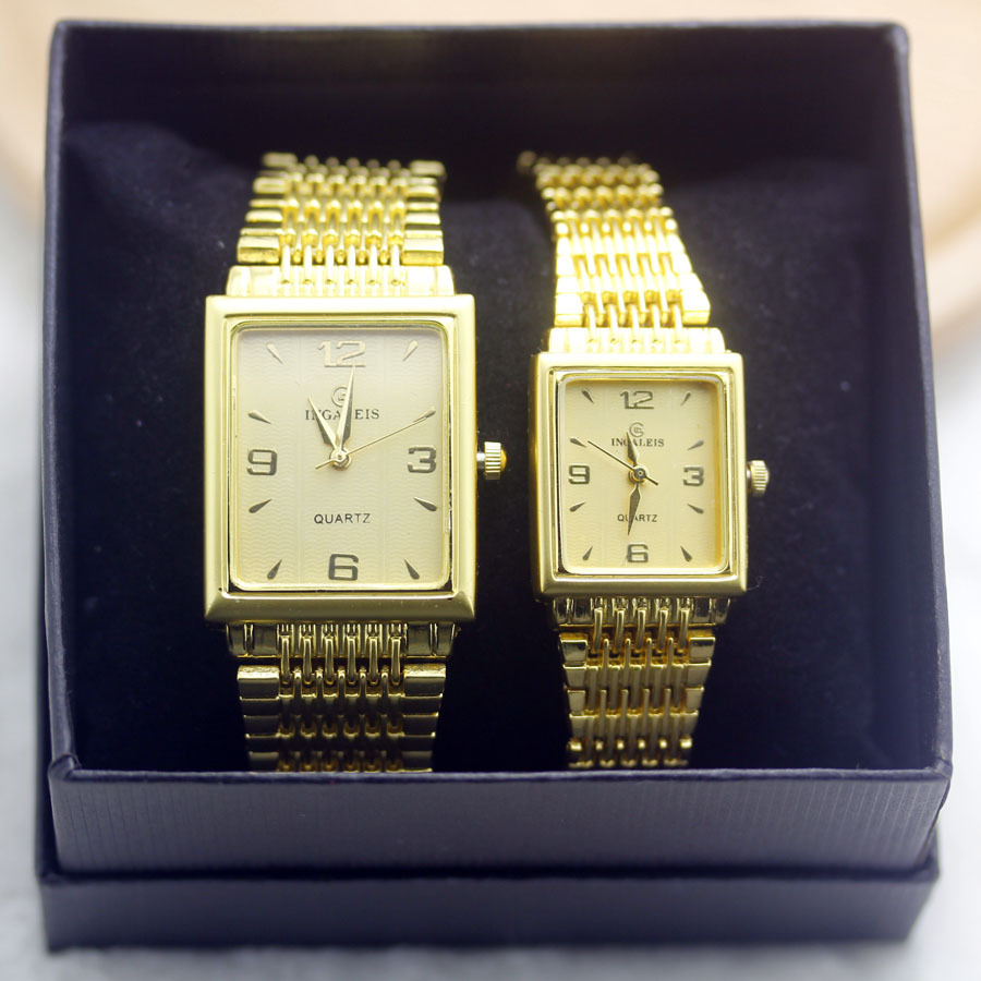 New luxury gold watch couple watches women fashion dress watches men stainless steel watches