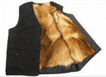 Free shipping Autumn and winter the elderly outdoor vest Men fur one piece liner fur vest waistcoat vest male black color TB101(China (Mainland))