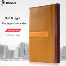 "For iPhone 6s Case Brand Baseus High Quality Genuine Cow Leather Flip Case For iPhone 6 6s 4.7"" Mobile Phone Bag Wallets Covers"