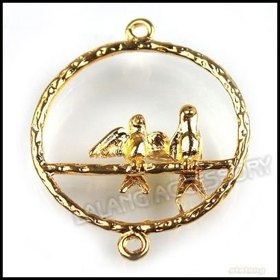 72pcs/lot Wholesale New Gold Plated Birds Charms Connectors 35mm Fit Jewelry Making 141628
