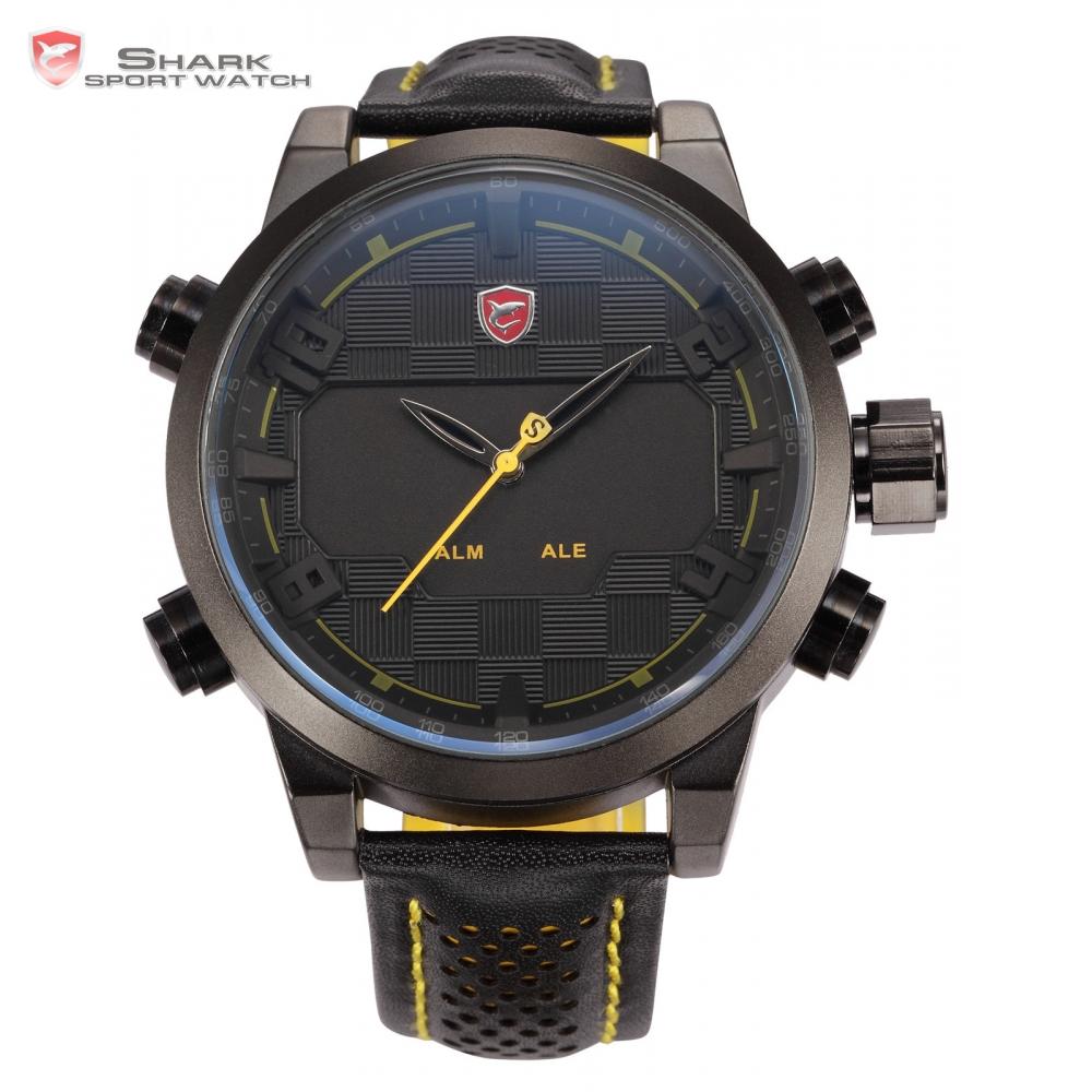 Sawback Angel Shark Sport Watch Mens Black Yellow Digital Dual Movement 3D Logo Steel Case LED Watches Leather Wristwatch /SH204(China (Mainland))