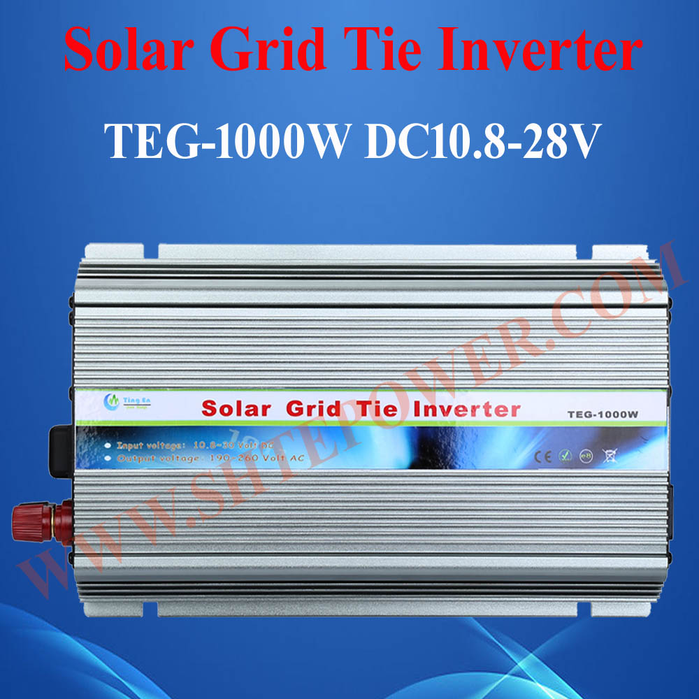 Grid Tie 1000W Pure Sine Wave Solar Inverter for PV Power 1200W, DC10.5V~28V, AC 90V-130V/190V~260V, 50Hz or 60Hz, Free shipping(China (Mainland))
