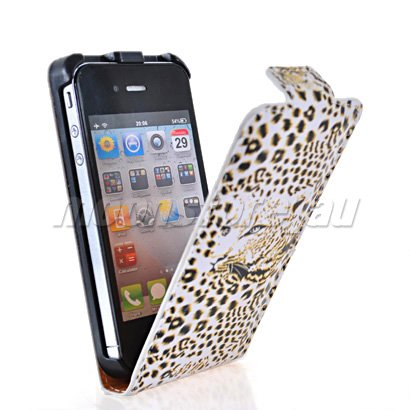 LEOPARD STYLE LEATHER FLIP POUCH CASE COVER FOR APPLE IPHONE 4 4G 4S - chong huang's store