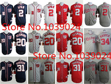 New 2 Denard Span Jersey Washington Nationals 20 Ian Desmond Jersey Baseball 31 Max Scherzer Red Jersey 34 Bryce Harper Jersey(China (Mainland))