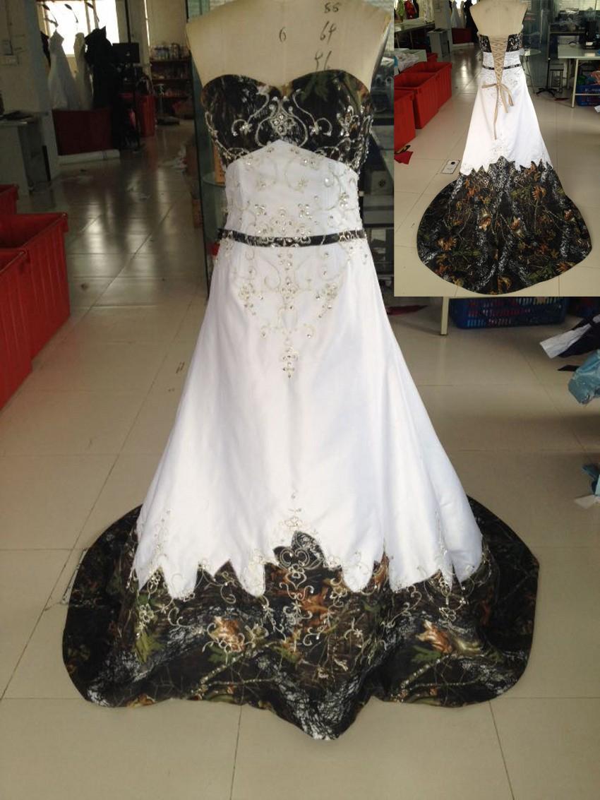 Free shipping 2016 new style mossy oak camo wedding for Mossy oak camo wedding dress