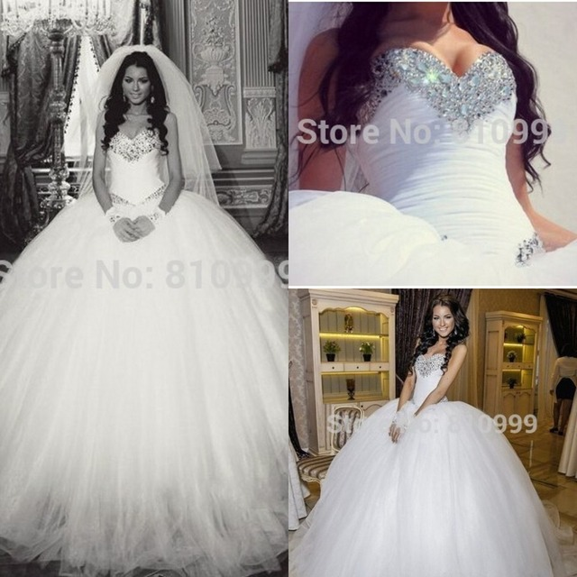 Wedding Ball Gowns With Bling - High Cut Wedding Dresses