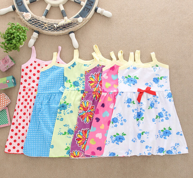 2015 infant baby girls dresses children clothing for summer kids princess flower or Dot Printed dress With Bow dress For 2~4T(China (Mainland))