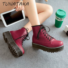 New Platform Ankle Boots Women Fashion Round Toe Boots Large Size 34-43 Shoes Lace-up Female Bootes