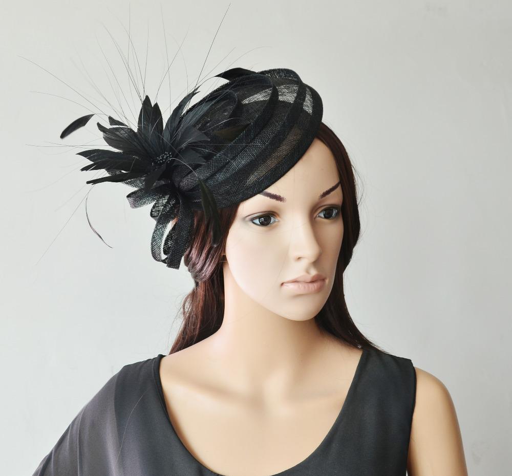 Black Sinamay mini hat fascinator .(China (Mainland))
