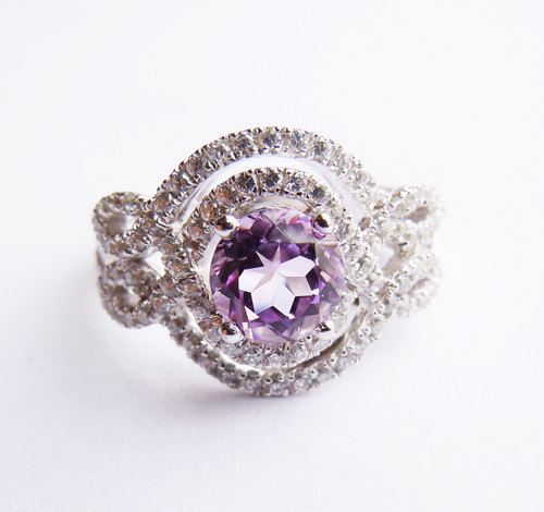 925Sterling Silver&amp;Amethyst Crystal Engagement Ring All Sizes<br><br>Aliexpress