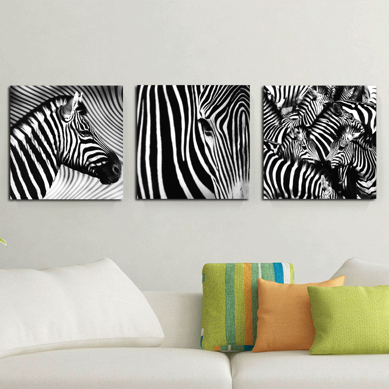 Home decor zebra picture modern art horse print on canvas for Zebra decorations for home