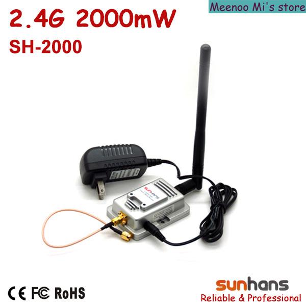 Hot sale! Original Sunhans 2.4G 2000mW wifi signal booster (SH-2000) - Meenoo Mi's store